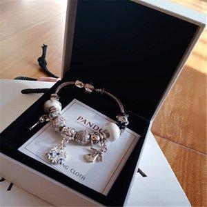 Moda 925 Sparkling Silver Drops Perle fiore braccialetto di cristallo di fascino europeo Si adatta Pandora Bracciali Charm Con scatola originale