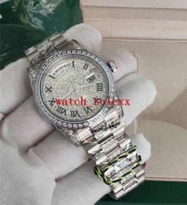Caliente de la venta mujeres de lujo wen Relojes de Moda 36 mm 118346 Día Fecha Presidente Romano Dial Asia mecánico automático unisex Platinum Diamo