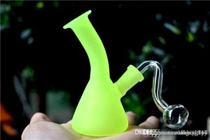 Glow in the Dark Beaker Bongs mini 10mm female Dab Oil Rigs with 10mm male glass oil burner pipe mini glass recycler bong free shipping