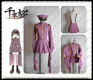 Uniforme del animado de Vocaloid Hatsune Miku Senbonzakura Cosplay del Ejército de vestuario del sistema completo