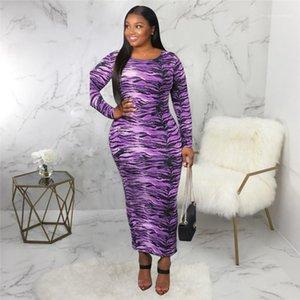 Drucken Frauen Designer-Kleider Lässige Kleidung Weibliche Tiger Stripes Digital Print Damen beiläufige Kleider Mode Alle