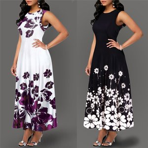Large Size Elegant Women's Floral Print Long Maxi Dress Evening Party Beach Dress Summer Sleeveless Long Flower Sundress Costume MX200518