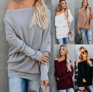 El nuevo suéter hecho punto de las mujeres de Europa Tops flojos de las señoras del hombro de la manga del Bat-wing Suéteres de punto 5 colores C4092