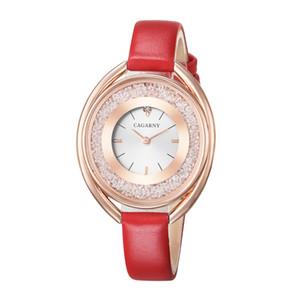 Bling Diamond Watch Mujeres Oro Rosa Para Mujer Relojes de Cuarzo Cagarny Encantador de Cuero ROJO Ladiess Vestido Reloj de pulsera Regalos Femeninos Nuevo al por mayor