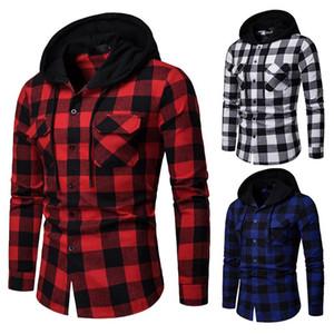 قميص جديد للرجال الربيع جودة منقوشة قميص مقنع ألبسة التنزه كم طويل عادية ذكر قميص ذكر الاتحاد الأوروبي الحجم S-XXL
