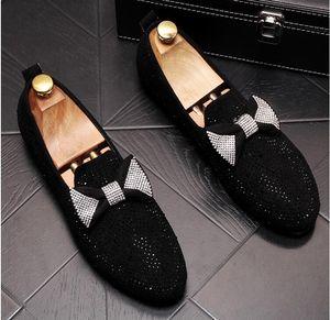 Handmade Черный горный хрусталь вышивка Мужская замша Мокасины Свадеб Мужчины Обувь Luxury Gold Благородный Элегантные платья обувь для мужчин
