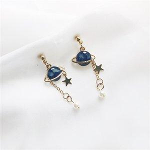 Original lovely romantic universe drop glaze asymmetric stud earrings earrings little planet jewelry accessories