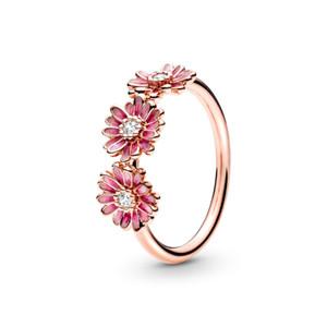 2020 Nova Primavera Rose Pink Daisy Flower Rings trio para o anel de casamento das mulheres 925 Sterling Silver jóias por atacado frete grátis 188792C01