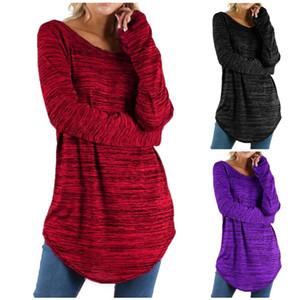 Free Shipping Women Long Sleeve Shirt Plus size Casual Round Neck Tops Woman Fashion Blouses Shirt