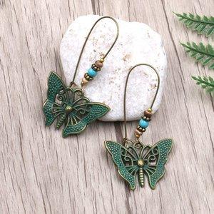 Ethnische Vintage Schmetterlings-Ohrringe für Frauen Blue Stone Holzperlen Anhänger Böhmen Ohrringe Retro Schmuck Accessoires Mädchen-Geschenk-Tropfen-Verschiffen