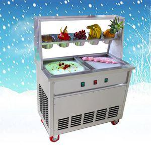 TT-CB2YA 2 Turno Pan Cold Stone Ice Cream Fry gelato Macchina Roller con TV pan Thailandia cibo gelato della spesa