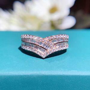 AEAW 18k beyaz altın 0.6CT GF Renk Takı Radiant Cut Yuvarlak Kadınlar İçin Elmas Tam Eternity Nişan Düğün Rings kesti
