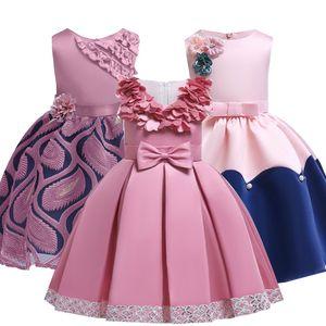 2019 Été Élégant Enfants Princesse Enfants Robes Pour Filles Soirée Praty Tutu Robe Fleur Filles Robe De Mariée 4 6 10 12 Année MX190725