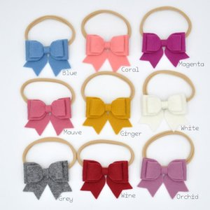 18pcs lot 3inch Felt Bow Headband Nylon Hair Band for Babys Infant Hair Accessory