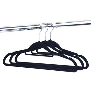 두꺼운 몰려 들기 코트 걸이 홈 다기능 양재 미끄럼 방지 옷 랙 벨벳 블랙 고급 그레이드 p