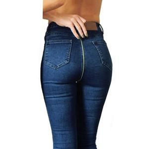 Moda Kadın Pantolon Benzersiz Geri Fermuar Kalem Stretch Denim Skinny Jeans kadın Pantolon Yüksek Bel Pantolon için
