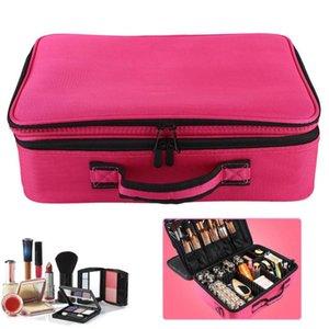 Herramienta de caja de cosméticos de maquillaje bolsa de tres capas cosmético del bolso de gran capacidad, con la barra de tracción Box bordado de belleza Artículos
