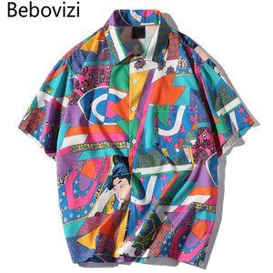 Bebovizi Marca Japonesa Ukiyo E Camisa Harajuku Hip Hop Cor Bloco Camisa de Manga Curta Ocasional Streetwear Solto Camisa Havaiana Y19070301