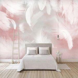 Özel 3D Photo Duvar Kağıdı Modern Soyut Tüy Sanat Duvar Su geçirmez Tuval Salon Yatak Odası Duvar Kağıtları Ev Dekorasyonu Boyama