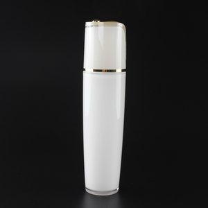 100ml large capacity 50pcs lot acrylic serum bottle, empty white shell shaped lotion pump bottle wholesale