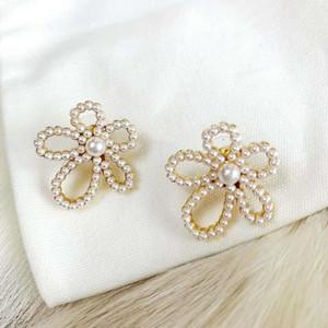 Горячие продажи взрывоопасные цветы инкрустированные жемчугом дикие дизайнерские серьги роскошные дизайнерские ювелирные изделия женские серьги