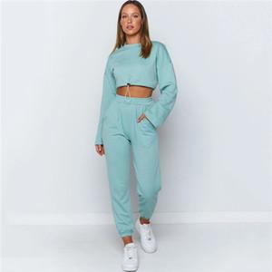 Mulheres cor sólida Treino manga comprida Tripulação pescoço curto T-shirt solto Calças Famale Dois Set Pedaço