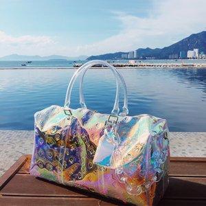 Large Capacity Laser Travel Boston Bags for Women Luxury Fashion Chain Decoration Handbag Casual Transparent Single Shoulder Bag