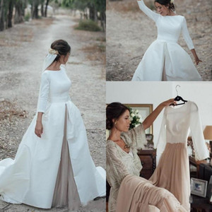 2020 Cheap Country Wedding Dresses with Detachable Skrit Jewel Neck A Line Long Sleeves White Satin Champagne Bridal Gowns Vestido De Noiva
