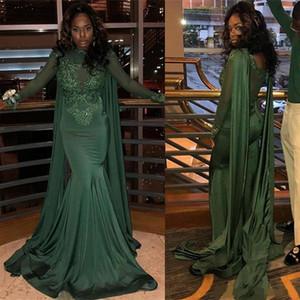 Темно-зеленый Русалка Пром платья High Neck See Through Черная девочка Длинные рукава Sheer Плюс Размер нигерийского Формальное вечерние платья ogstuff