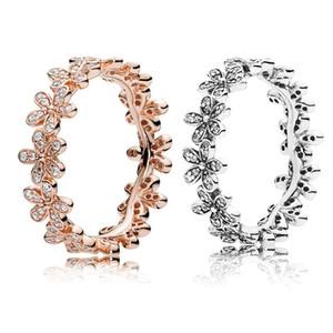 Box per Pandora 925 Sterling Silver CZ set fiore della margherita originale anello di diamante delle donne di cerimonia nuziale Anelli