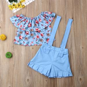 Verão Bebés Meninas Roupas Floral Tops + Correias Shorts 2 peças de vestuário Define 2020 crianças fora do ombro Flores T-shirt Macacões ternos nova E22603