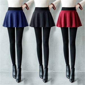 Girl Render culottes bottom skirt trousers fake two plus skirt pants leggings women thin plus velvet thickening foot stepping pants