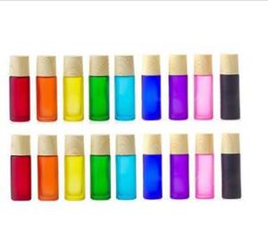 10ml Ätherisches Öl Roller Ball Flasche Matte Bunte Holzmaserung Abdeckung Portable Convenience-mattiert Dickes Glas nachfüllbaren Behälter JXW319