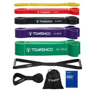 TOMSHOO 5 Packs Pull Up Assist Bands Set Resistance Loop Bands Powerlifting Exercise Stretch with Door Anchor and Handles