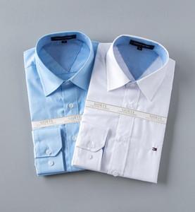 Commercio all'ingrosso 2019 nuovo marchio primavera autunno casual manica lunga da uomo camicia di cotone di alta qualità formale affari Plaid Mens Dress Shirts Plus # 6801