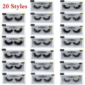 (20 개) 스타일 3D 밍크 속눈썹 아이 메이크업 밍크 거짓 속눈썹 소프트 자연 두꺼운 가짜 속눈썹 3D 눈 속눈썹 연장 미용 도구