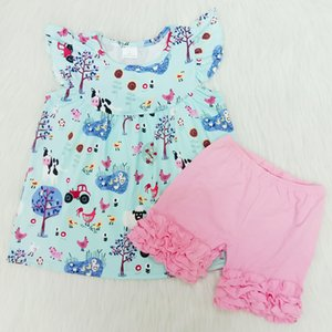 Summer Girls Clothing Outfits 2020 Hot Two Piece Sleeveless Short Pants Children Girls Clothes Suit Casual Blue Kids Boutique Sets