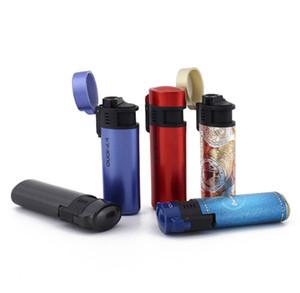 Alta calidad a prueba de viento Jet llama antorcha encendedor encendedor de gas butano recargables encendedor de cigarrillos con pantalla de plástico fumar pipa herramientas