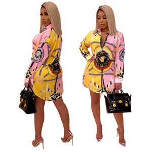 Mulheres Vestidos Designer 2020 Verão New Mulheres Verão Luxo Impresso Casual manga comprida Vestidos da forma das mulheres gola sexy slim Vestidos