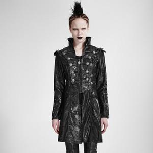 Punk Rave Kadın Ön Fermuar Perçinler Faux Deri Uzun Ceket Y-366F