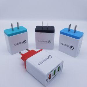 QC 3.0 настенное зарядное устройство 3 порта Multi USB Travel Adapter Quick Charge EU US Portable QC3. 0 3USB быстрая зарядка для мобильного телефона Samsung Huawei