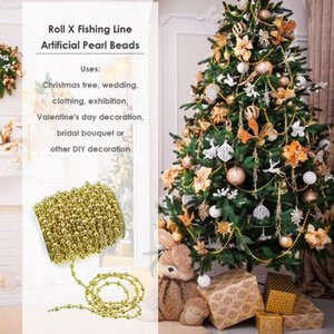 15m Gold Silver Fishing Line Artificial Pearl Beads DIY Garland Xmas Wedding Festival Party Clothing Exhibition Ornaments