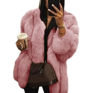 2019 Women Plus Size Thickened Faux Fur Plain Overcoat Solid Color Long Sleeve Open Front Bread Jacket Coat Luxury Elegant Loose wholesale