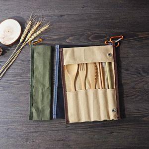 Портативный Столовые приборы Набор бамбука Flatware Набор ножей Вилка Ложка соломы Для Открытый Путешествие Посуда Установить с Canvas Упаковка Мешок подарков Ницца