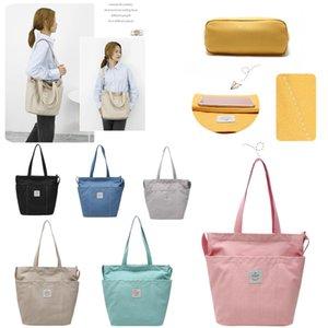 Women Cotton Canvas Shoulder Bags Zipper Top Tote Students Large Crossbody Bag Front Three Pockets Inside Phone Pocket Beach Lunch Handbag