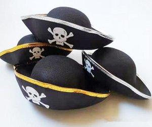 Halloween Cosplay adereços Hat Pirate Ghost Hat Crianças Adulto Ouro Rim Silver Side Capitão Chapéu Tema Party Dress Up Partido Cap JXW306