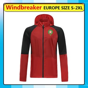Marocco squadra nazionale di calcio a vento giacche con cappuccio, Marocco cerniera giacca a vento di calcio cappotto sportivo Giacche corsa