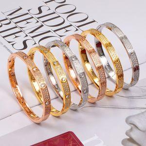 Femmes pleine cristal Bangle moderne Minimalisme ronde Bangle Bijoux élégant simple Bracelet à vis des bracelets en or rose pour cadeaux