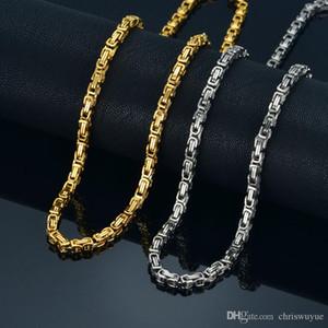 2019 de alta calidad de 4 mm Oro Plata 360L Collar Gargantilla de acero inoxidable hombre Cadena bizantina caja de la joyería