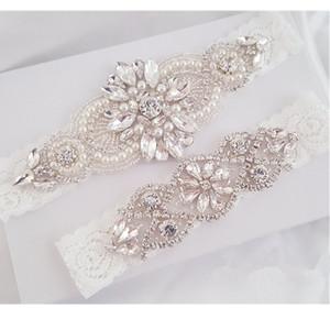 Giarrettiera Wedding Set giarrettiera da sposa di pizzo cristallo strass Perla Bridal